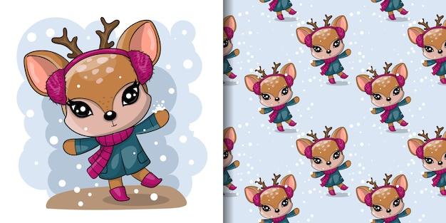 Saludo tarjeta de navidad lindo ciervo dibujado con conjunto de patrones sin fisuras