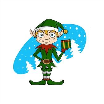 Saludo tarjeta de navidad con pequeño gnomo lindo.