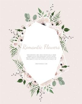 Saludo, tarjeta postal de invitación de boda. marco elegante con rosa y anémona.