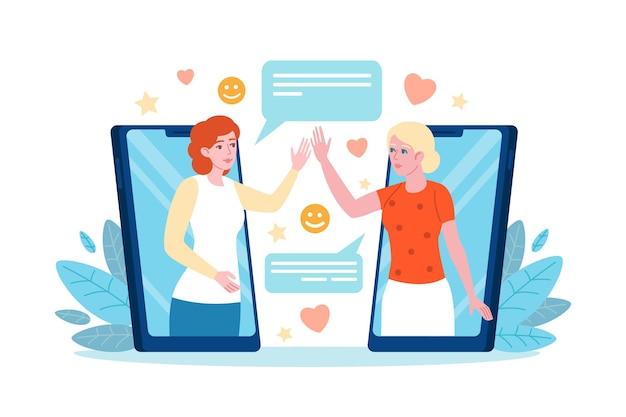 Saludo telefónico. las mujeres se saludan a distancia a través de dispositivos móviles, diálogo de chat de amigos, aplicación de comunicación de personas en línea. concepto de vector