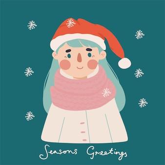 Saludo de temporada navideña con ilustración de personaje lindo