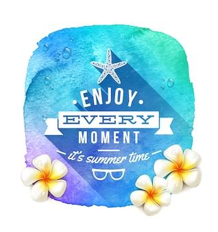 Saludo de verano y flores tropicales frangipani en una pancarta de fondo azul acuarela