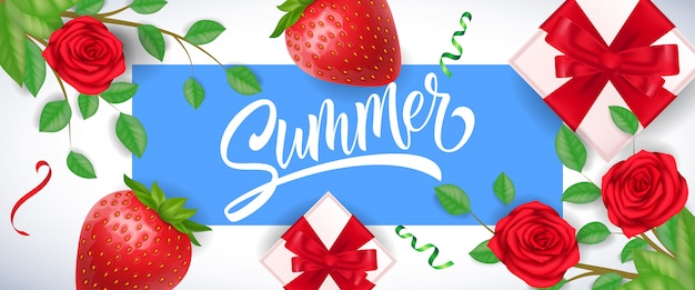 Saludo de verano en marco azul con fresas, rosas y cajas de regalo