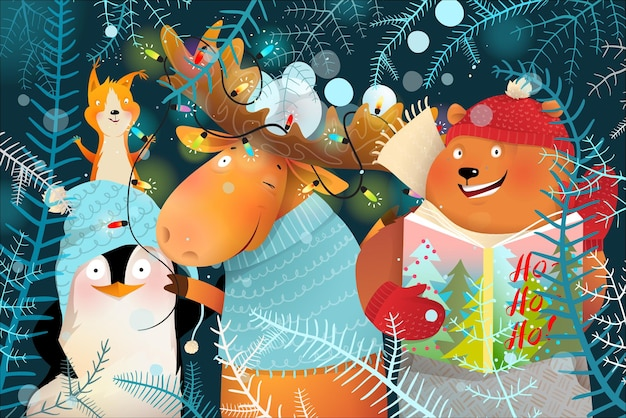 Saludos desde la celebración de los animales de navidad y año nuevo, colorida tarjeta de felicitación para niños.