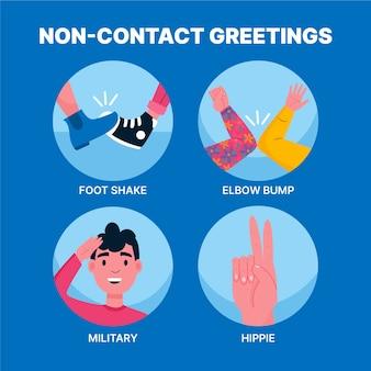 Saludos sin contacto para protección
