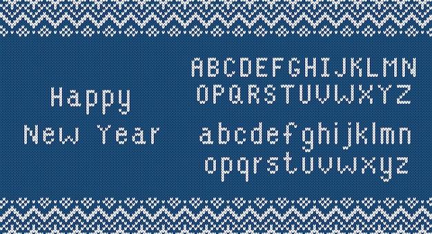 Saludos de feliz año nuevo en textura de punto, impresión azul con fuente. patrón de punto.