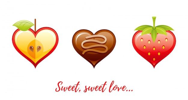 Saludos de feliz día de san valentín de dibujos animados con iconos de san valentín: manzana, bombones, fresa,