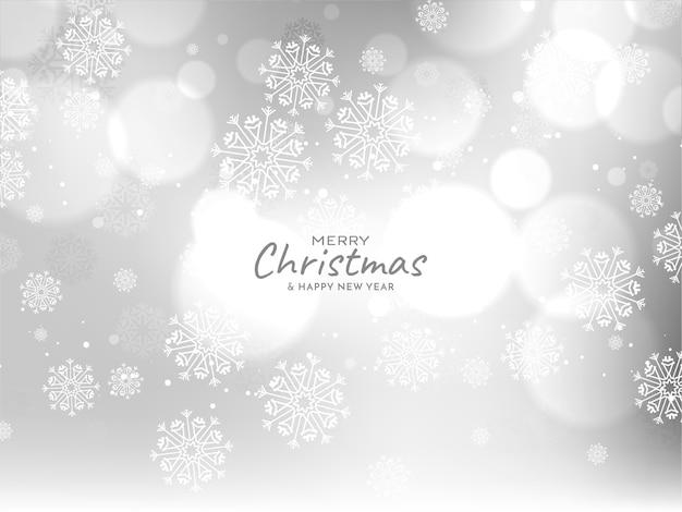 Saludos de feliz navidad de color gris brillante bokeh
