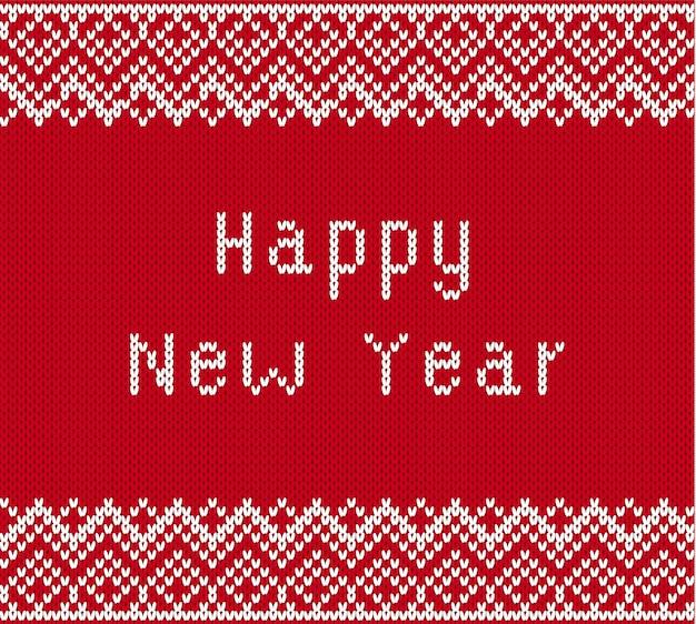 Saludos de feliz navidad sobre fondo de textura de punto. tejer adornos geométricos con texto de feliz año nuevo.
