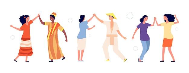 Saludos de la gente. las parejas felices chocan los cinco juntos. hola, encuentro de amigos internacionales. los estudiantes, la amistad o los socios comerciales se regocijan en la ilustración de vector de éxito. gente saludando y feliz