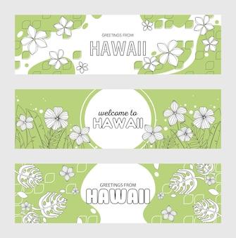 Saludos desde hawái, bienvenidos al conjunto de banners de hawái