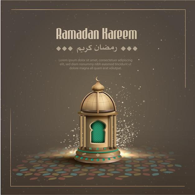 Saludos islámicos fondo de diseño de tarjeta de ramadán kareem con linterna de oro