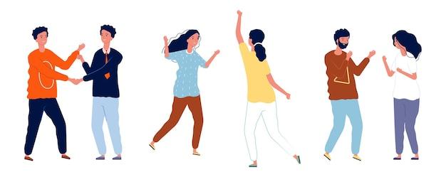 Saludos a los jóvenes. chicas chicos dicen hola, amigos se abrazan, se encuentran y se dan la mano. Vector Premium