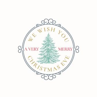 Saludos de navidad vector abstracto etiqueta de marco retro, signo o plantilla de logotipo. ilustración de dibujo de árbol de pino colorido dibujado a mano con tipografía. aislado.