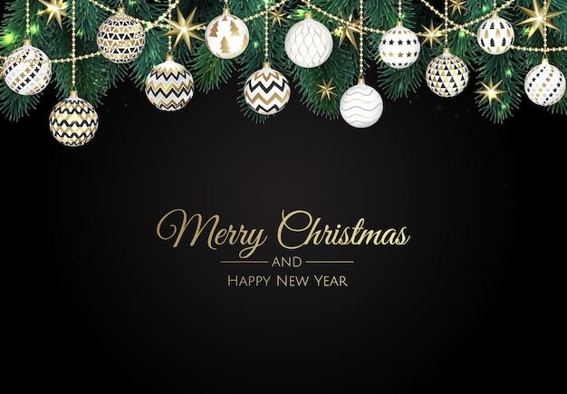 Saludos navideños con adornos colgantes.