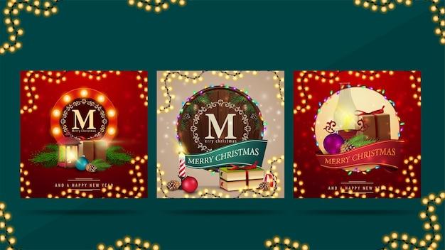 Saludos navideños cuadrados decorados con elementos navideños y regalos.
