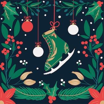 Saludos navideños temporadas patinaje sobre hielo