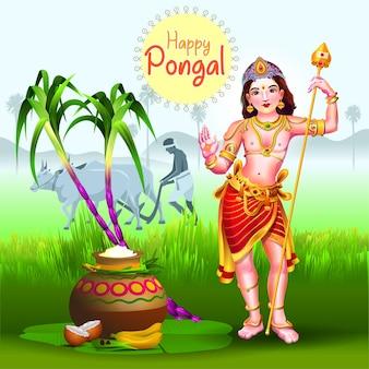 Saludos pongal con dios hindú y granjero en la granja