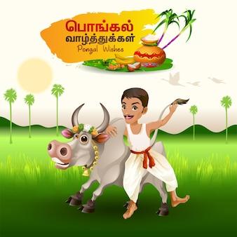 Saludos pongal con granjero sosteniendo toro