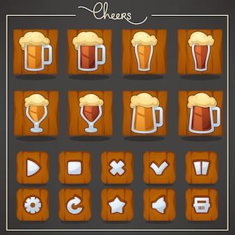 Saludos, vasos y jarras de cerveza de barril, objetos y botones para tu juego móvil