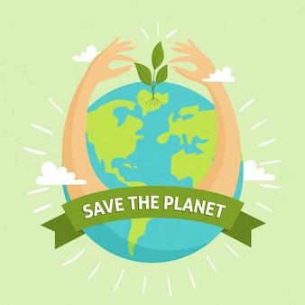 Salva el concepto del planeta con las manos alrededor del globo