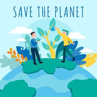 Salva el concepto del planeta con personas y naturaleza