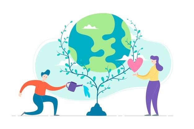 Salva el concepto del planeta con personas que cuidan la tierra