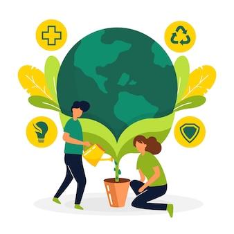 Salva el concepto del planeta con personas que hacen crecer la tierra