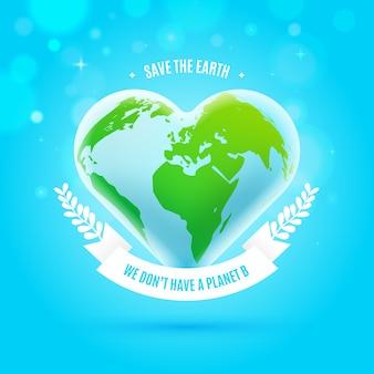Salva el concepto del planeta con un planeta en forma de corazón