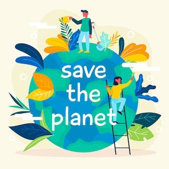 Salva el concepto del planeta con la tierra y la naturaleza