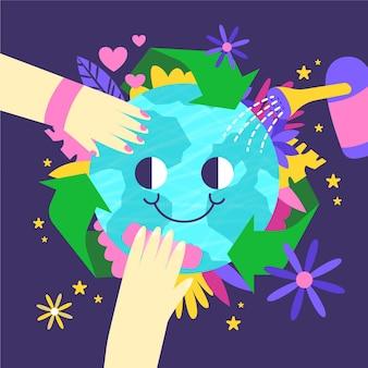 Salva el concepto del planeta con la tierra