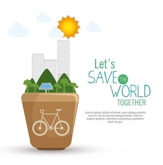 Salva el diseño del mundo en estilo plano