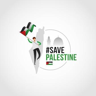 Salva palestina, el niño de pie con bandera