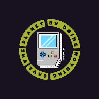 Salva el planeta sin hacer nada. diseño dibujado a mano con ilustración plana y texto de joysticks gamepad.