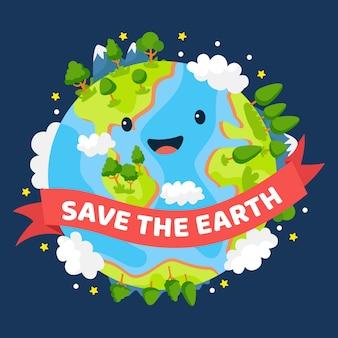Salva el planeta tierra verde sonriente