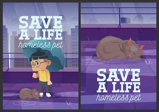 Salva una vida diseño de carteles de dibujos animados de mascotas sin hogar