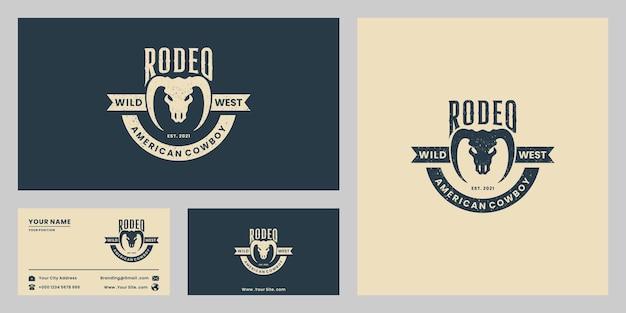 Salvaje oeste, rodeo, vaquero, logotipo, diseño, vendimia, insignia, longhorn