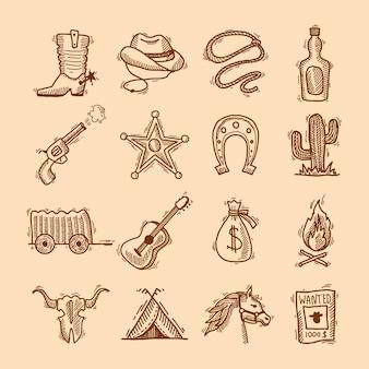 Salvaje oeste vaquero mano dibujado conjunto con sillín sheriff insignia herradura aislado ilustración vectorial