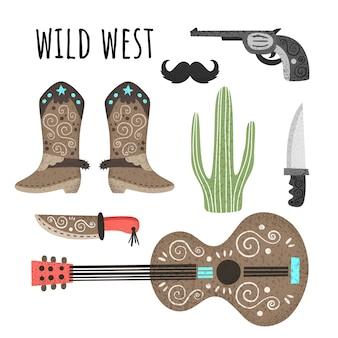 Salvaje oeste. vector conjunto de elementos con textura. guitarra, botas de vaquero, cuchillos, revólver, bigote de cactus.