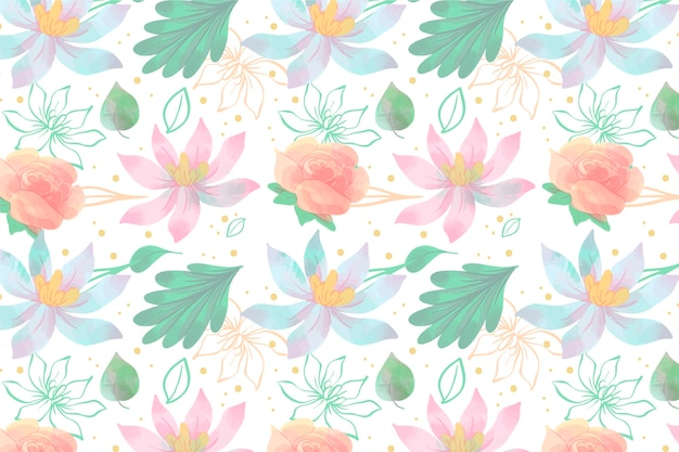 Salvapantallas floral en estilo acuarela vector gratuito