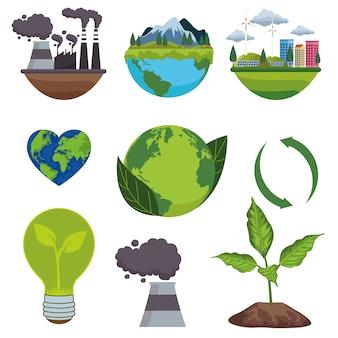 Salvar el cartel ambiental mundial con iconos de paquete
