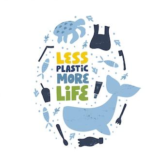 Salvar el concepto del mar. pare la ilustración aislada de la contaminación del agua. protección del planeta botella de plástico y bolsa, ballena y tortuga clipart. menos plástico más vida