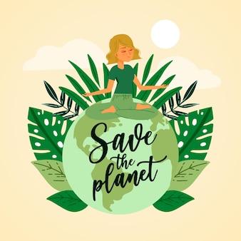 Salvar el concepto de planeta ingenio mujer haciendo yoga en la tierra