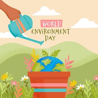 Salvar el concepto del planeta con una persona regando la tierra