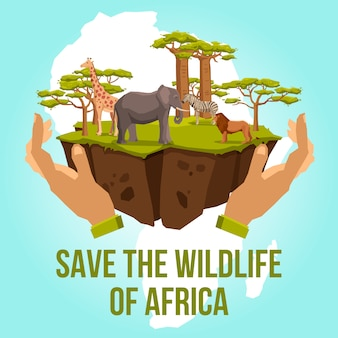 Salvar el concepto de vida silvestre de áfrica