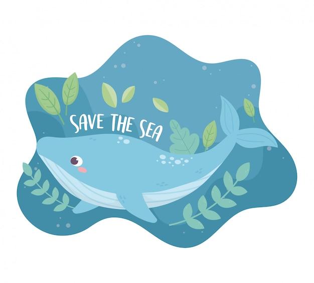 Salvar el diseño de dibujos animados de ecología ambiental de ballena marina