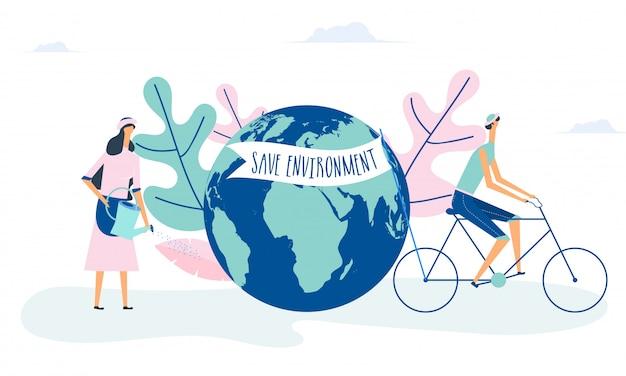Salvar el medio ambiente. mundo con ilustración de personajes