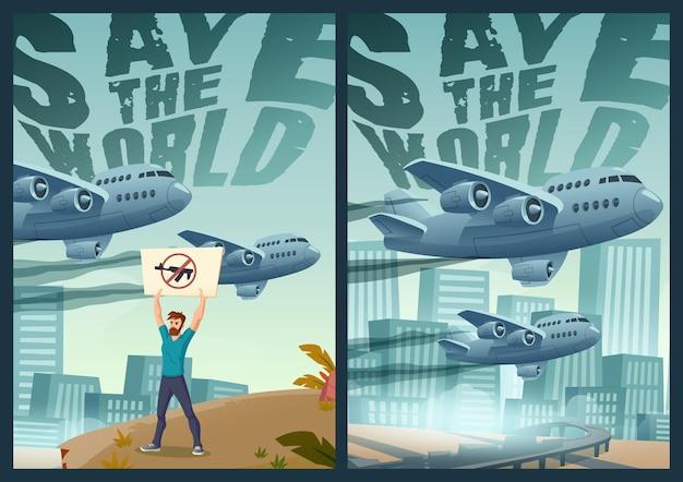 Salvar el mundo carteles de dibujos animados hombre manifestante con bandera de arma cruzada independiente en paisaje urbano bac ...