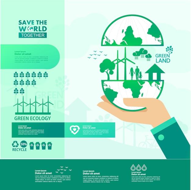 Salvar el mundo juntos ecología verde.