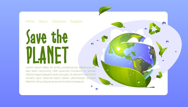 Salvar el planeta conservación ecológica aterrizaje de dibujos animados